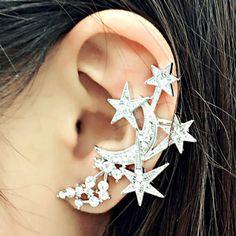 $5.29 ONE PIECE Delicate Women's Rhinestone Star Moon Ear Cuff