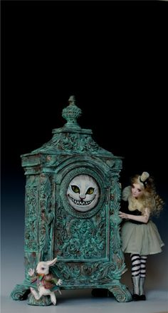 THROUGH THE LOOKING GLASS -WONDERLAND CLOCK -ALICE -WHITE RABBIT by Nicole West