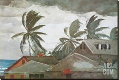 Hurricane, Bahamas, c.1898 Stretched Canvas Print by Winslow Homer at Art.com