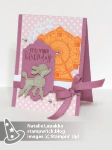 Homemade card by Natalie Lapakko featuring a SNEAK PEEK of Birthday Delivery stamps with Carousel Birthday stamps from Stampin' Up!