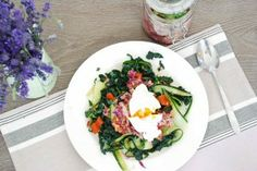 Kale, Cucumber, Kimchee And Poached Egg. Refined sugar free, grain free, gluten free, paleo, clean eating recipes