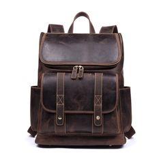 Handmade Genuine Leather Backpack / Cow Leather Backpack / Vintage Backpack / Crazy Horse Backpack