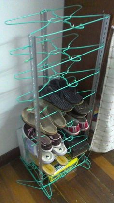 Shoe rack made with metal wire hangers and zip ties