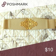 Stretch cream and gold belt Gold detail. Super cute with a flowy shirt or jersey dress! Accessories Belts