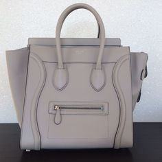 Celine New Gray Nano Mini Luggage Satchel Tote Bag Purse Leather | eBay
