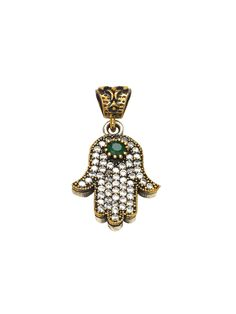 Handmade Turkish Sterling Silver & Emerald Hamsa Pendant