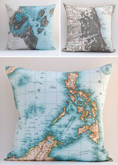 Pillow covers from Salt labs -  small Detroit, Michigan-based design studio producing a variety of original products for the home but primarily focusing on digitally-printed textiles – handmade into pillows.  - world map art