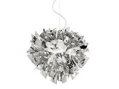 Lampada a sospensione in Steelflex® VELI SUSPENSION LARGE SILVER Collezione Veli by Slamp | design Adriano Rachele