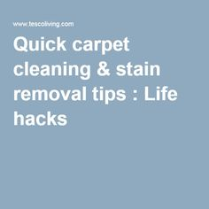 Quick carpet cleaning & stain removal tips : Life hacks