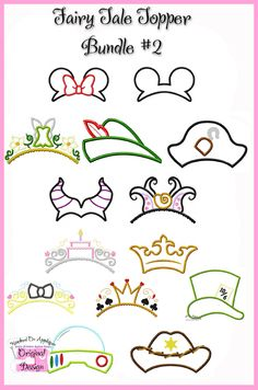 Fairy Tale Topper Set 2 Disney Diy, Disney Crafts, Disney Trips, Disney College, Disney Cruise, Embroidery Patterns, Machine Embroidery, Disney Doodles, Crown Drawing