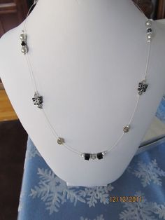 Black Butterflies and Swarovski Crystal Necklace