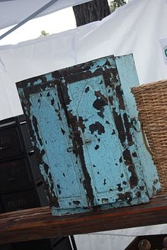 Rose Bowl Flea Market Pasadena CA--love the chipped blue paint