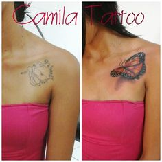 Tatuagem cobertura, cobertura com borboleta, tatuagem no ombro