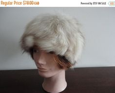 On Sale Vintage Fluffy Norwegian Fox Fur Women Hat Med 22 60's - pinned by pin4etsy.com