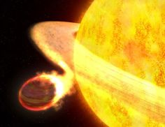 The Hubble space telescope has observed a planet being swallowed by its parent star.