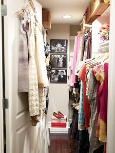 Melissa Warner's closet features black and white pictures of her style icon, Jackie O #closet #dressing_room