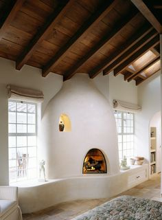 Bedroom southwest style Design Ideas, Pictures, Remodel and Decor Southwest Style, Southwestern Bedroom, Maison Earthship, Earthship Home, Adobe Haus, Mediterranean Bedroom, Mediterranean Design, Earth Homes, Fireplace Design