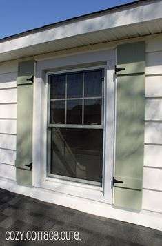 DIY Window Shutters Simple Exterior Makeover on a Budget DIY Window Shutters Simple Exterior Makeover on a Budget DIY Window Shutters Simple Exterior Makeover on a Budget Diy Shutters, Window Shutters, Outdoor Shutters, Homemade Shutters, Exterior Shutters, Wooden Shutters, Exterior Paint, Green Shutters, Diy Exterior