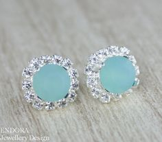 Aqua mint Crystal Stud earrings, Matt Seafoam Swarovski crystal earring by #EndoraJewellery on Etsy, $30.00