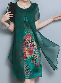 Solid Ruffles Short Sleeve High Low X-line Dress - Floryday