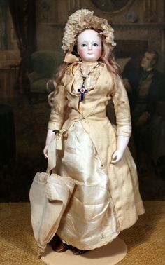 "RARE & ALL-ORIGINAL 17"" Cup and Saucer Neck French Fashion Doll with Bisque Arms. #dollshopsunited"