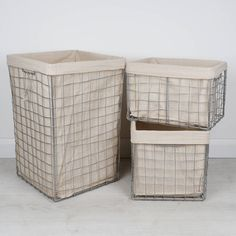 An unusual twist on a modern laundry collection, crafted from silver metal with a jute lining, creating a contemporary addition to any laundry room. The robust metal frame, finished in a high shine silver adding an industrial finish to the set, complete with removable jute lining. The set consisting of one large Square laundry bin, the two smaller nesting baskets are in the form of a rectangle, perfect for transporting washing to the line or machine. A lovely set to compliment any déc...