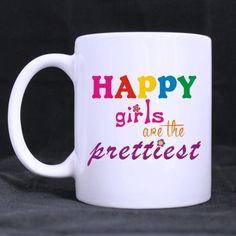 Best Girls Mug - Awesome Girls Quotes Happy Girls Are the Prettiest best Custom White Mug >>> Unbelievable cat item right here! : Cat mug