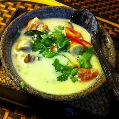 tom kha gai (thai coconut chicken soup) -- chicken breast, chicken broth, coconut milk, lemongrass, red curry paste, ginger, lime, fish sauce, and any veggies you like!