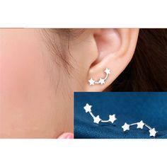 2017 New 3 Star Stud Earrings Ear Jewellery Women Silver Plated Bijouterie Statement Earrings for Girls brincos kolczyki MN597