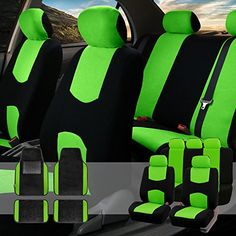 FH GROUP FH-FB050115 + F14407 Full Set Flat Cloth Car Seat Covers with Premium Carpet Floor Mats Green / Black- Fit Most Car, Truck, Suv, or Van. For product info go to:  https://www.caraccessoriesonlinemarket.com/fh-group-fh-fb050115-f14407-full-set-flat-cloth-car-seat-covers-with-premium-carpet-floor-mats-green-black-fit-most-car-truck-suv-or-van/