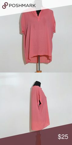 Pleione short sleeve blouse Bright coral with navy v print Pleione Tops Blouses