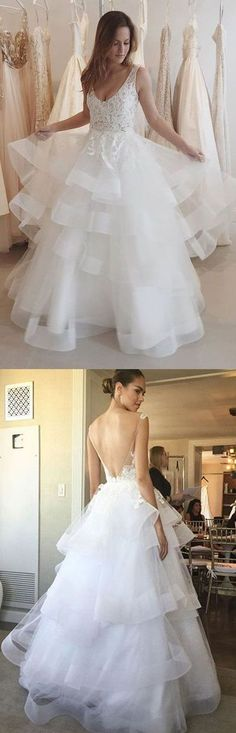 Glamorous A-Line V-Neck White Lace Long Prom/Evening Dress,440