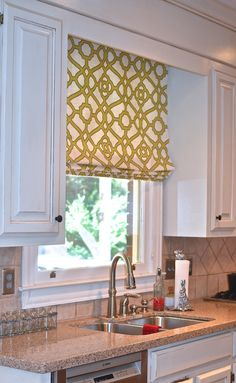 Classic flat roman shade by recreateyour on Etsy Kitchen Window Coverings, Kitchen Window Treatments, Kitchen Curtains, Kitchen Blinds Above Sink, Kitchen Windows, Kitchen Sink, Kitchen Decor Themes, Home Decor Kitchen, Kitchen Ideas
