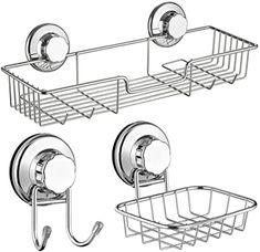 Amazon.com: SANNO Bath Shower Caddy Soap Dish Double Bath Hook-Bath Organizer Kitchen Storage Basket for Shampoo, Conditioner, Soap- Anti Rust Stainless Steel (Set of 3): Home & Kitchen Bathroom Baskets, Kitchen Baskets, Rv Bathroom, Bathroom Storage, Kitchen Storage, Double Bath, Double Shower, Large Shower, Bath Shower