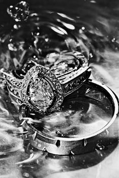 Wedding Rings in a silver bowl of water
