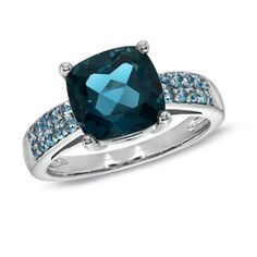 9.0mm Cushion-Cut Blue Topaz Ring in Sterling Silver - Save on Select Styles…