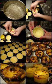 Pastel de nata_ almost a custard pie Portuguese Egg Tart, Portuguese Desserts, Portuguese Recipes, Portugese Custard Tarts, Unique Recipes, Sweet Recipes, Baking Recipes, Dessert Recipes, Delicious Desserts
