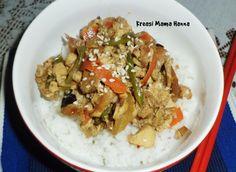 Deep fried tofu with carrot, green bean, tofu, onion, egg, sesame seed and teriyaki sauce.. yummy with hot rice