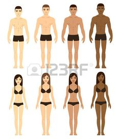 set of diverse men and women in underwear asian caucasian brown and black skin race difference illus Stock Vector