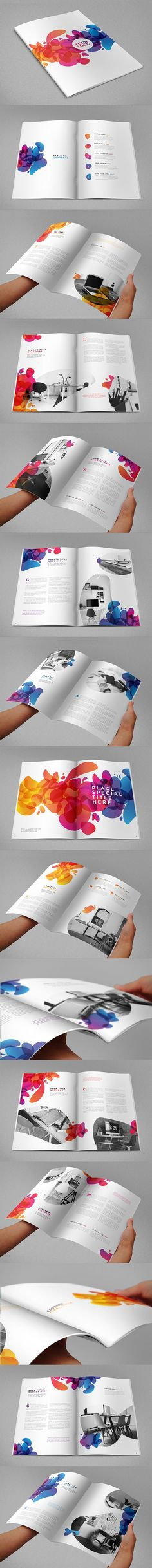 I realy like the colors in this editorial design, it was more attractive because they use black and wihte colors for the picture but they highlights with colorful design and creative, however the design was simple, they   https://www.pinterest.com/pin/397794579566415185/