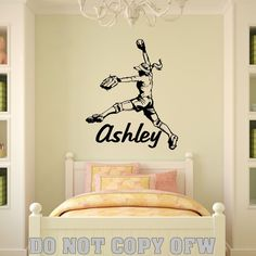 Personalized Name & Girl Softball Pitcher Vinyl Wall Decal Sticker Decor in Decals, Stickers & Vinyl Art   eBay