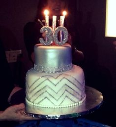 30th Bling Chevron Birthday Cake