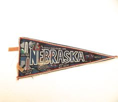 Nebraska Souvenir Pennant, Vintage Flag by planetalissa on Etsy