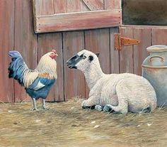 Sheep and Rooster by Susan Bourdet