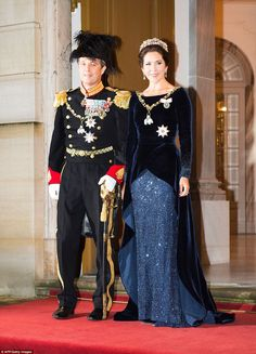Year in review: Crown Princess Mary and Prince Frederik started the year at a New Year's reception atAmalienborg Palace in Copenhagen, Mary wearing a floor-length sequinned gown andRuby Parure tiara