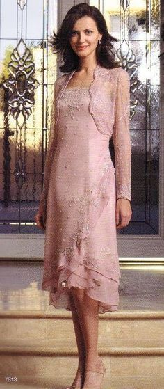 Elegant Modern Plus Size Pink Mother Of The Bride Groom Dresses Tea Length  Custom Made 8e8bc9485c45