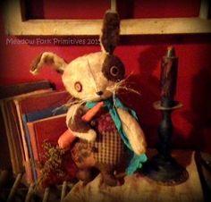 Primitive Folk ArtSpot the Rabbit with by MeadowForkPrims on Etsy