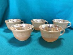 Anchor Hocking Fire-King Oven Ware Peach Coffee Cups made in the USA set of 5    eBay