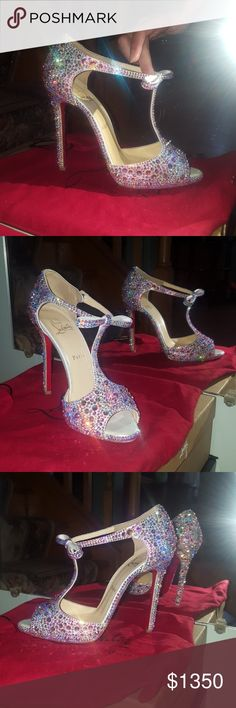 Christian louboutin swarovski strass heels Authentic Christian louboutin senora belly nodo  120mm swarovski crystal AB bow heels. Size 39 RUN MUCH SMALLER!! Fit and 8 to 8.5!!! Excellent condition No crystal missing!! Comes with original box, extra heel tabs, and large dust bag. Worn once, org. $3995 plus tax!!no trades!!! Sparkle is out of this world in person !!! Stunning!!! Buy with confidence posh concierge will approve✔✔!!!  Christian Louboutin Shoes Heels