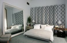 Modern Bedroom Design Idea with Large Mirror